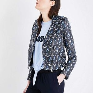 CLAUDIE PIERLOT Floral-Print Leather Biker Jacket